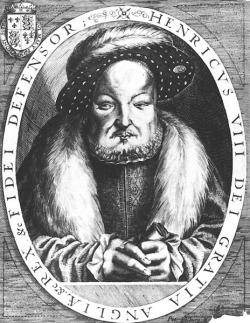 Grabado de Enrique VIII a edad avanzada, por P. Isselburg, basado en el de Cornelis Metsys